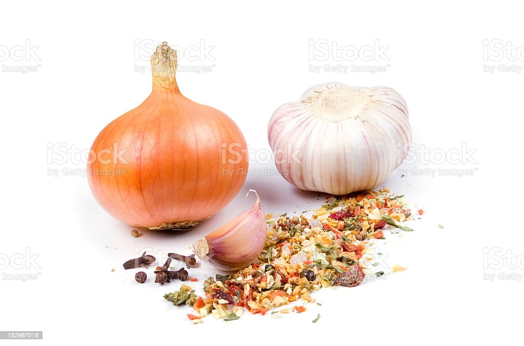 Onion, garlic and spices. royalty-free stock photo