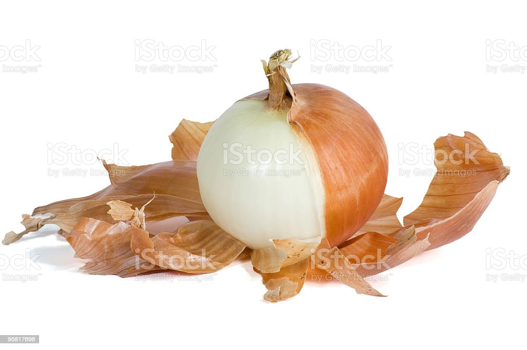 Onion Half Peeled stock photo