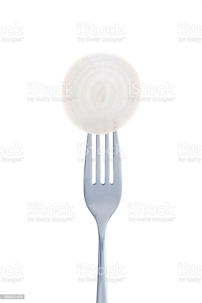 Onion On Fork stock photo