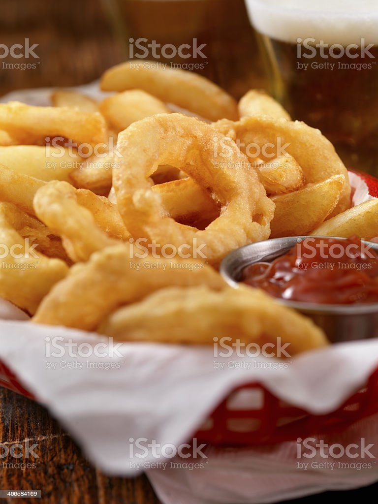 Onion Rings and Fries stock photo
