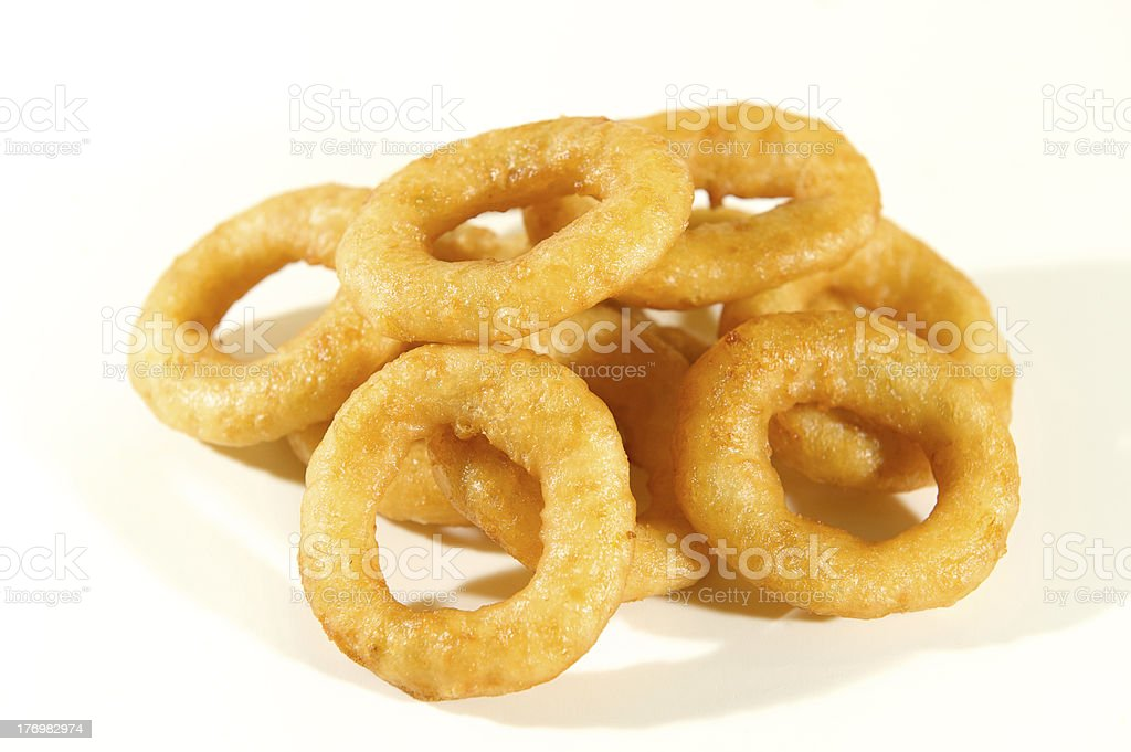 Onion rings on white background stock photo