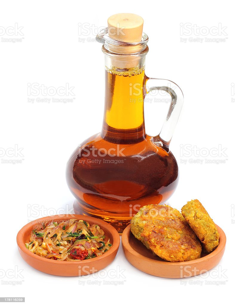Onion salad and lentil chop with mustard oil royalty-free stock photo