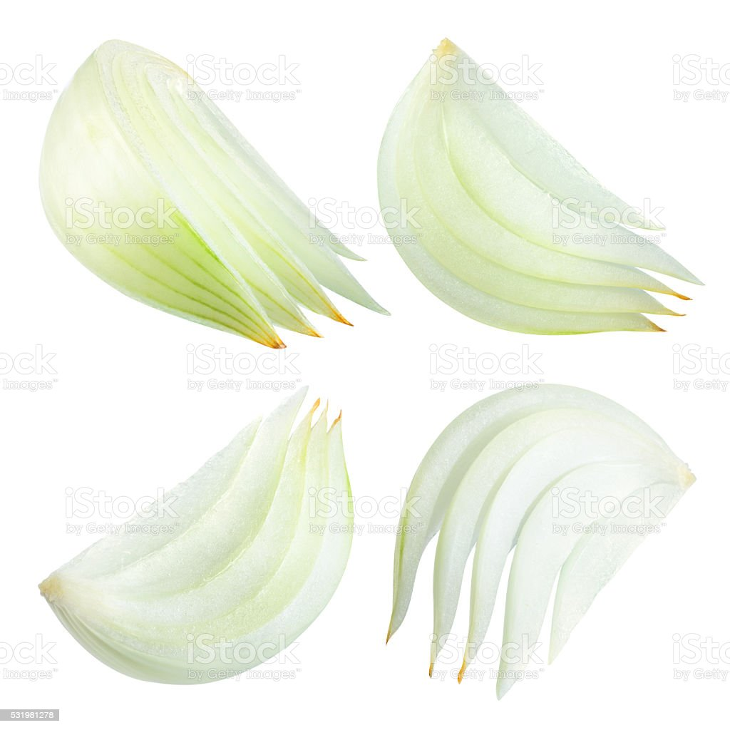 Onion slices isolated on white background. With clipping path. stock photo