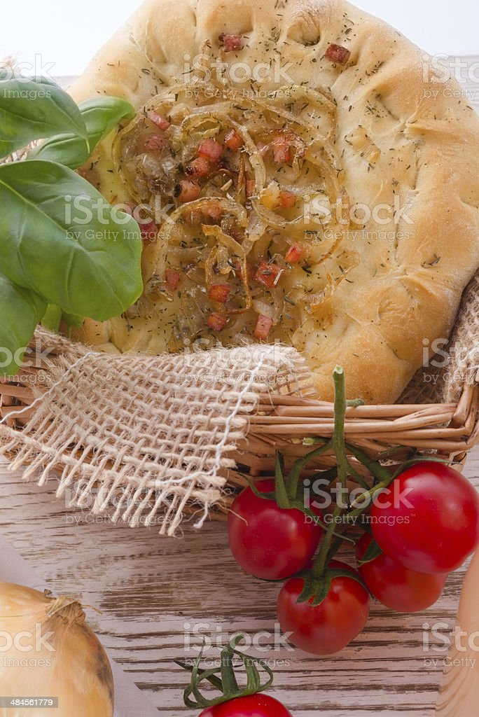 Onion tart and Federweisser(Nouveau) stock photo