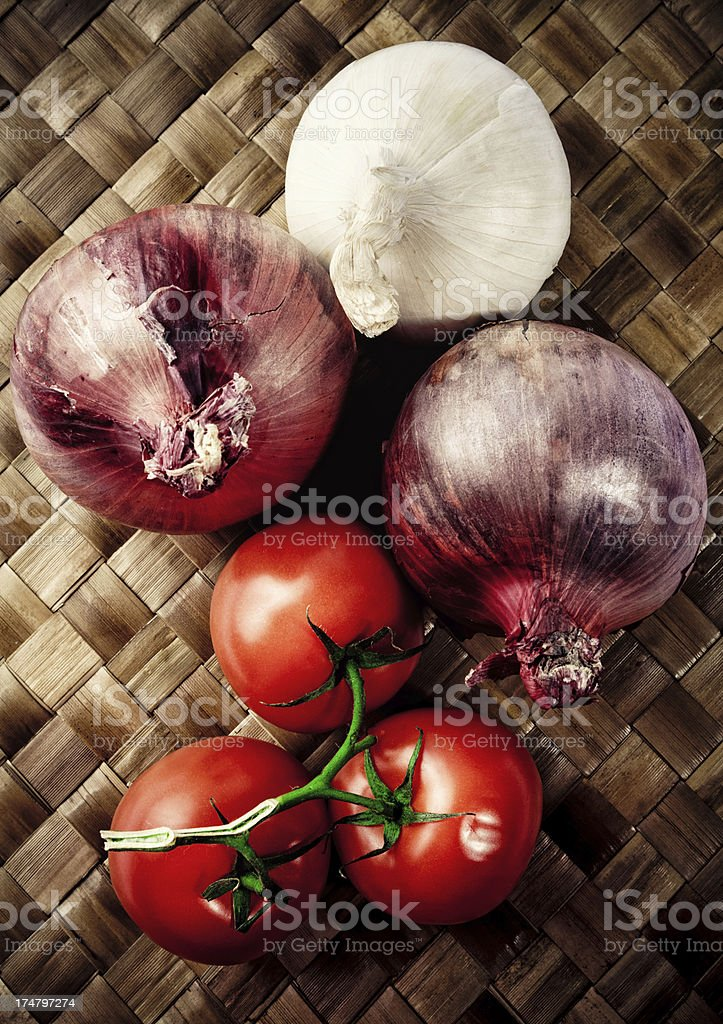 Onions and Tomatos royalty-free stock photo