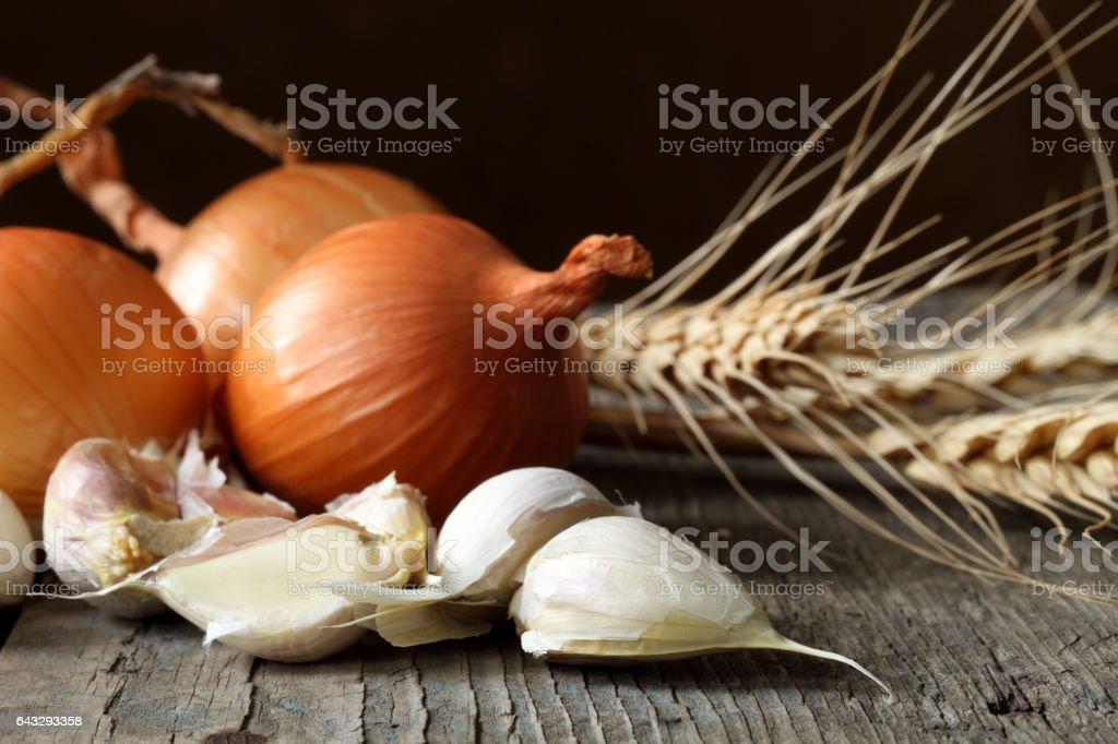 Onions, garlic and ears stock photo