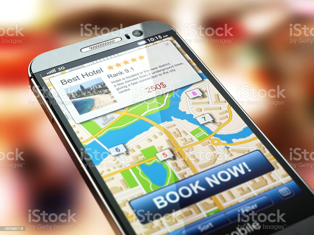 Online accommodation booking concept. Smartphone and system  hot stock photo