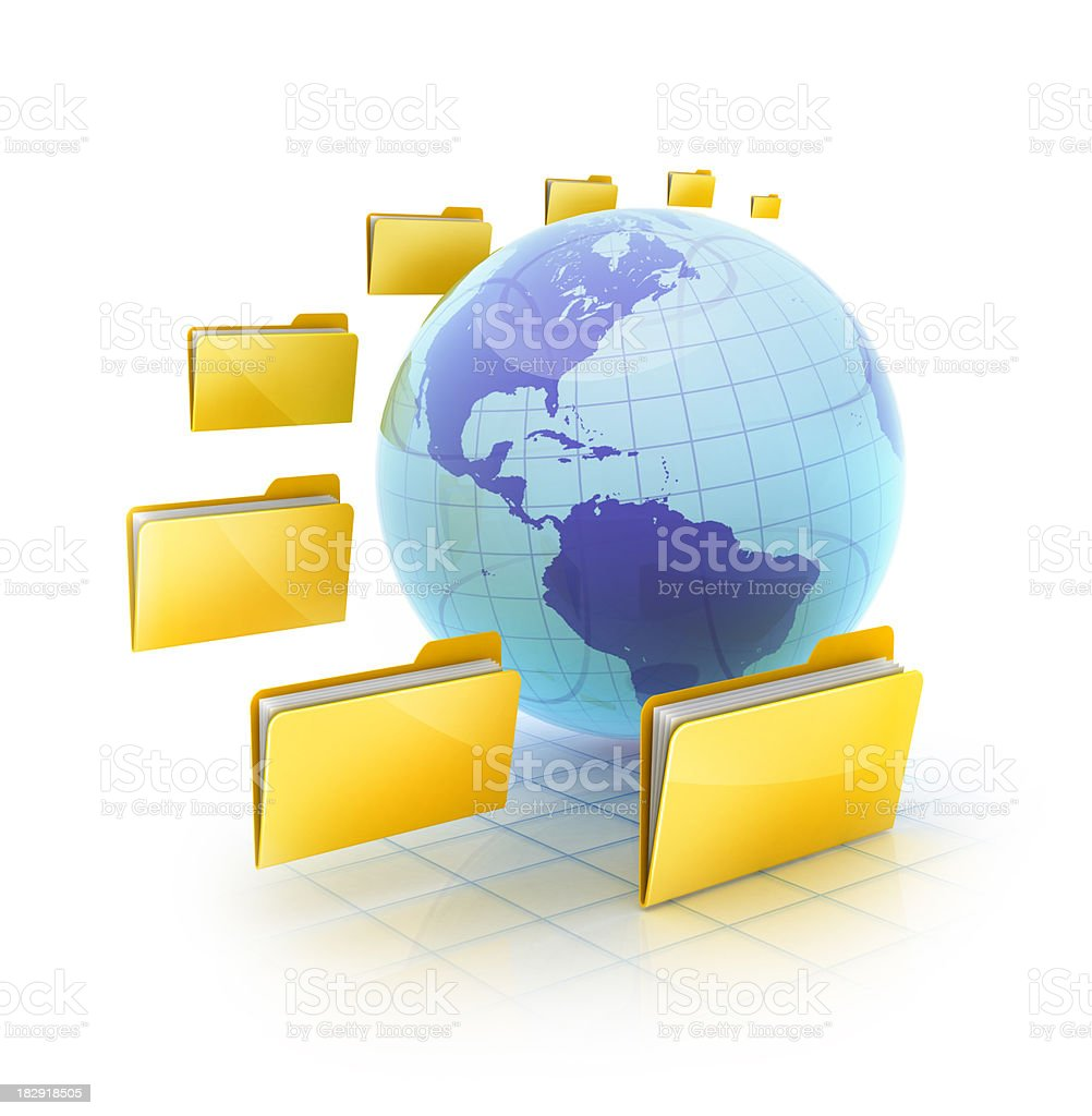 online and global Folders stock photo