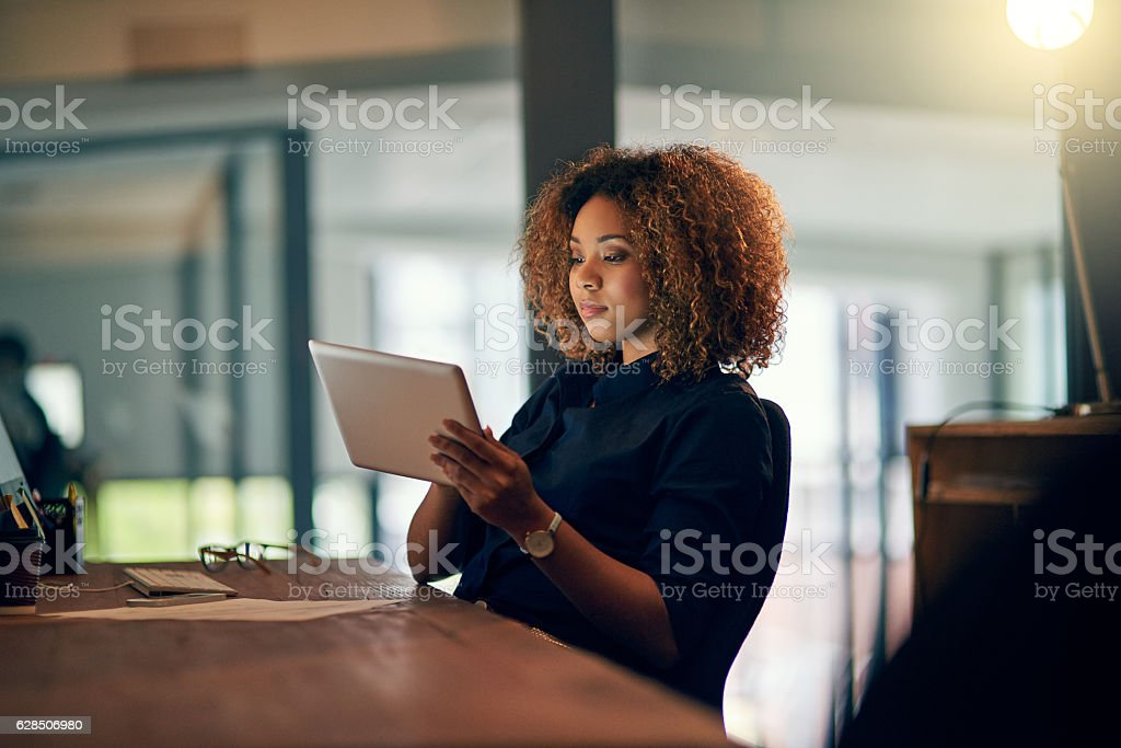 Online and up to date the entire day stock photo