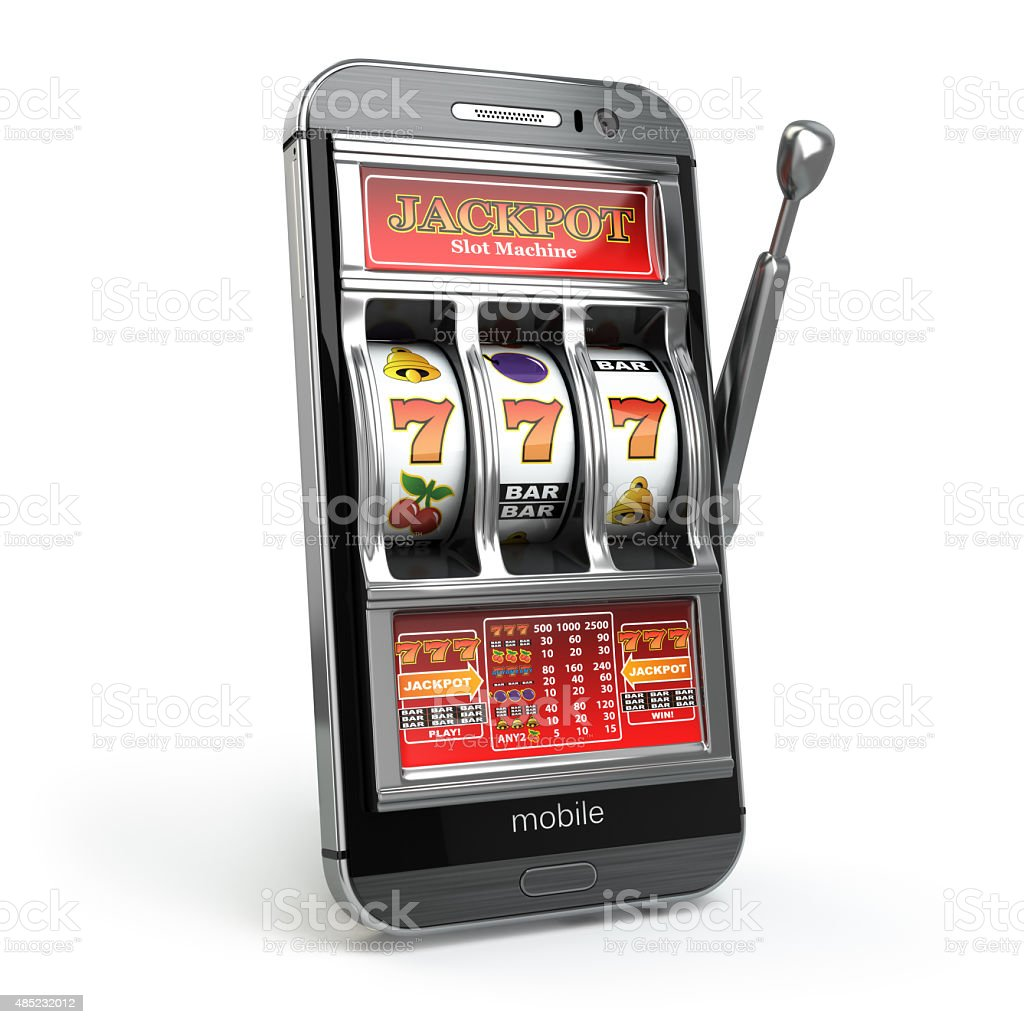 Online casino concept. Mobile phone and slot machine with jackpo stock photo