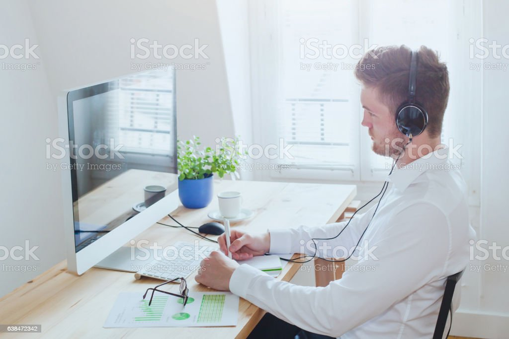 online conference or webinar, business man working in the office stock photo