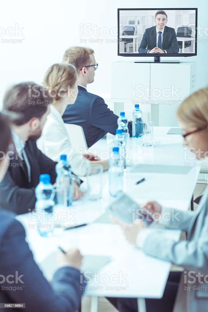 On-line conference with overseas representative stock photo