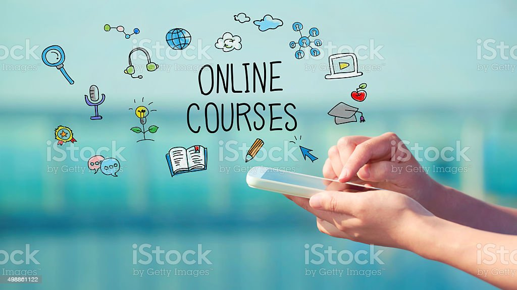 Online Courses concept with smartphone stock photo