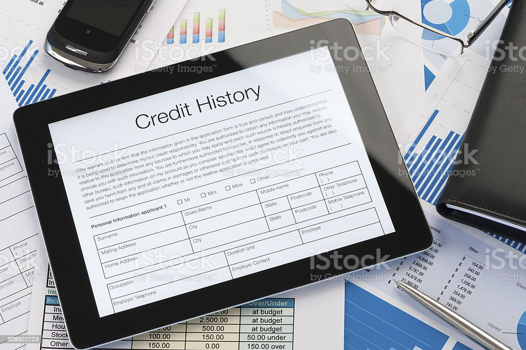 Online credit history form on a digital tablet stock photo