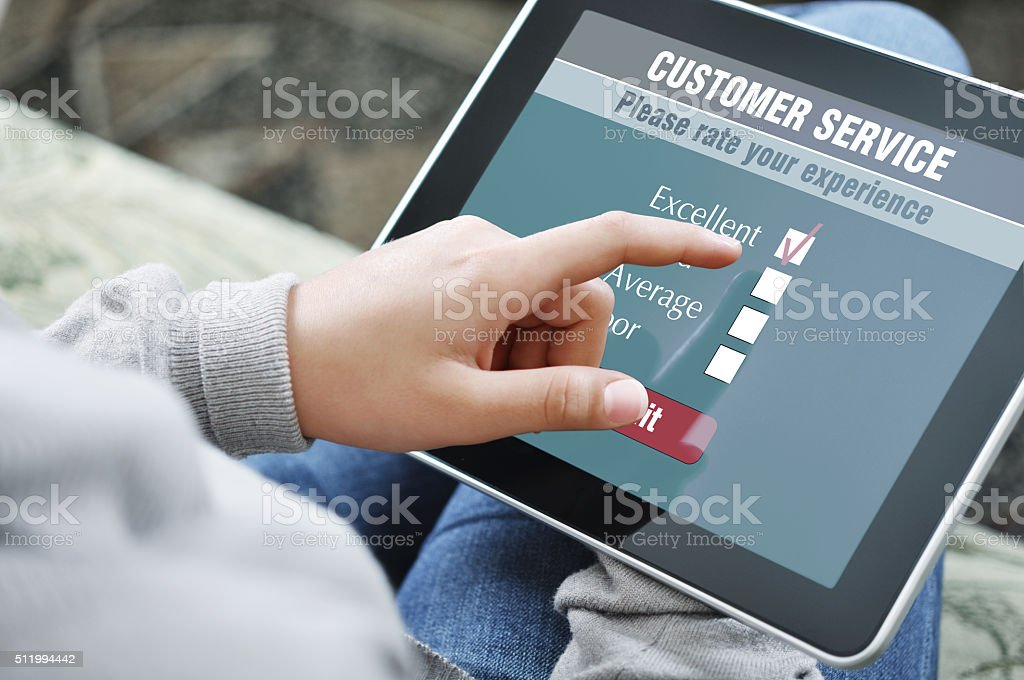 Online customer service satisfaction survey stock photo