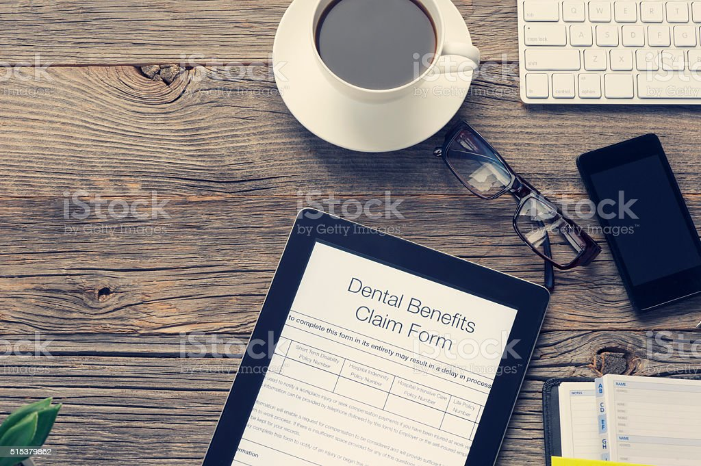 Online dental health benefits claim form. stock photo
