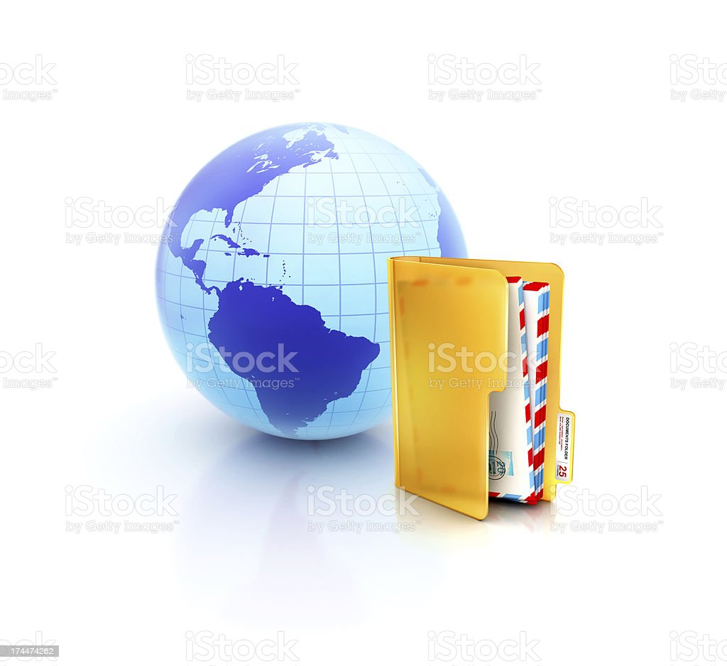 online email inbox envelopes folder icon with globe stock photo