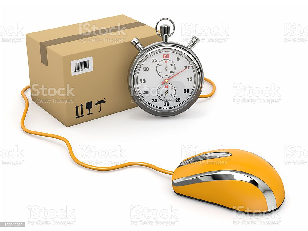 Online express delivery. Mouse, stopwatch and package. royalty-free stock photo