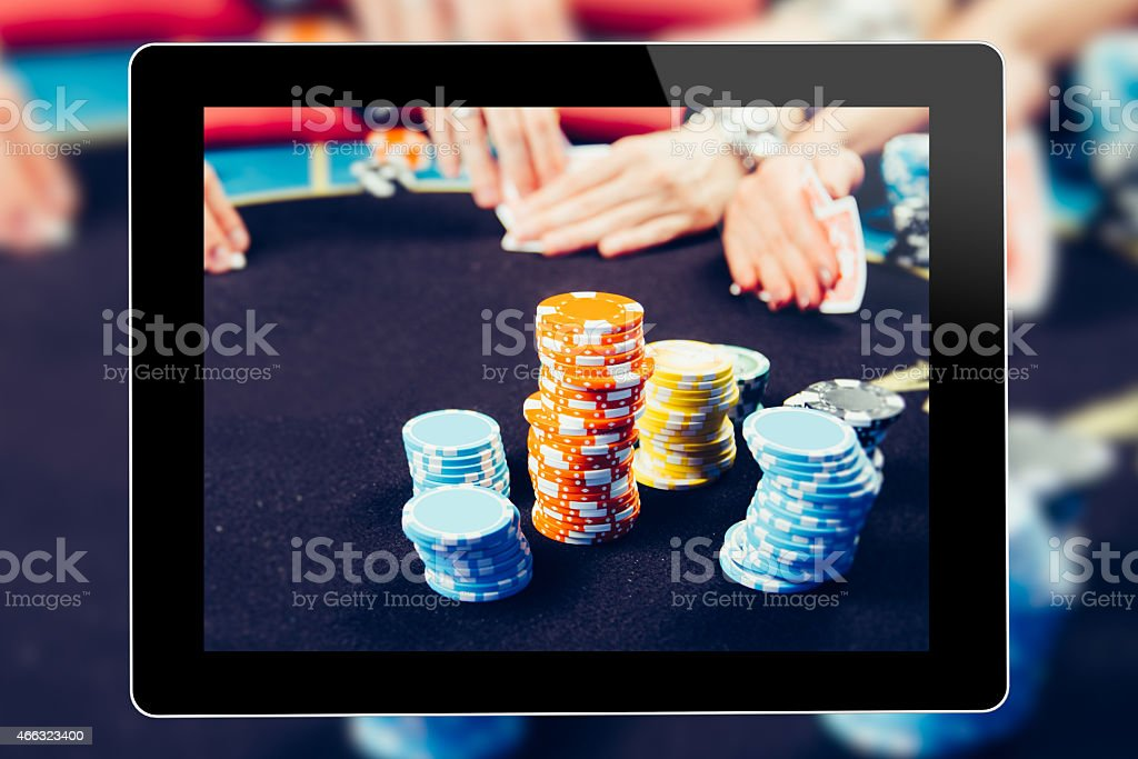 Online Gambling On Tablet stock photo