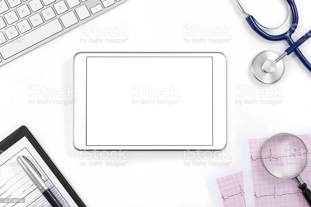 Online Health Concept with Digital Tablet and Equipments stock photo