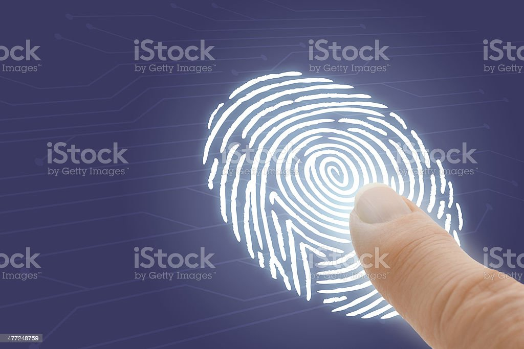 Online Identification and Security with Finger Pointing at Fingerprint stock photo