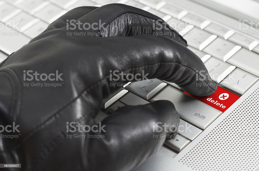 Online illegal delete concept stock photo
