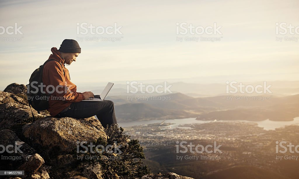 Online in the open air stock photo