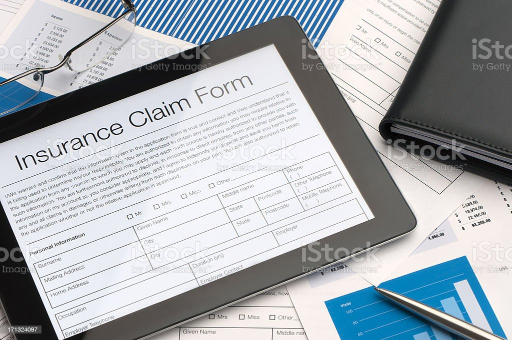 Online insurance claim form stock photo