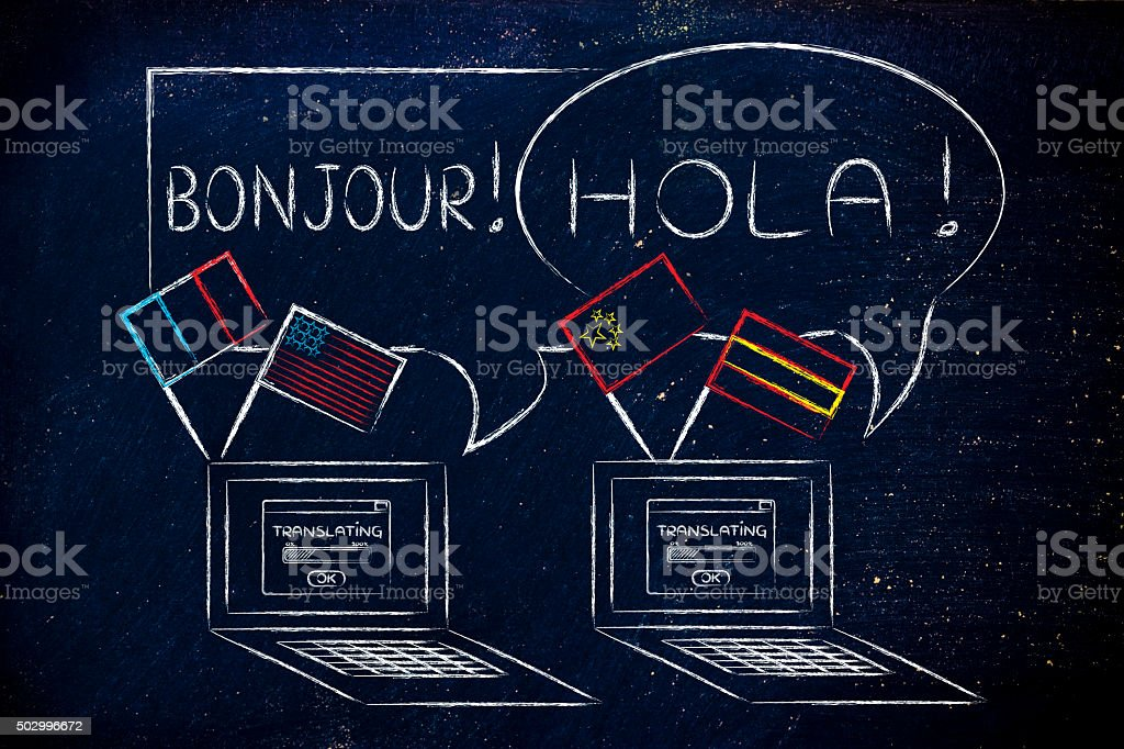 online language software and translations: laptop with different stock photo
