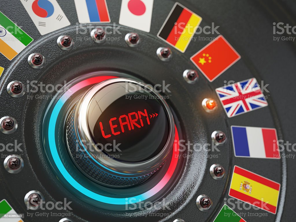 Online learning language concept. Switch knob button with flags. stock photo