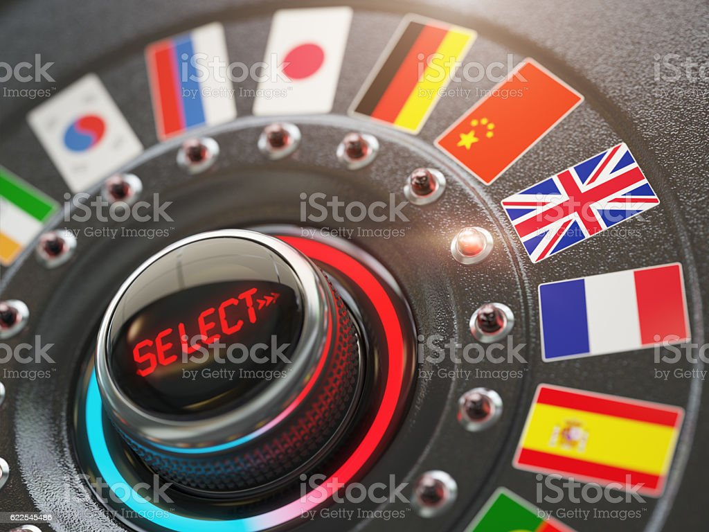 Online learning language or choice language on the web site stock photo