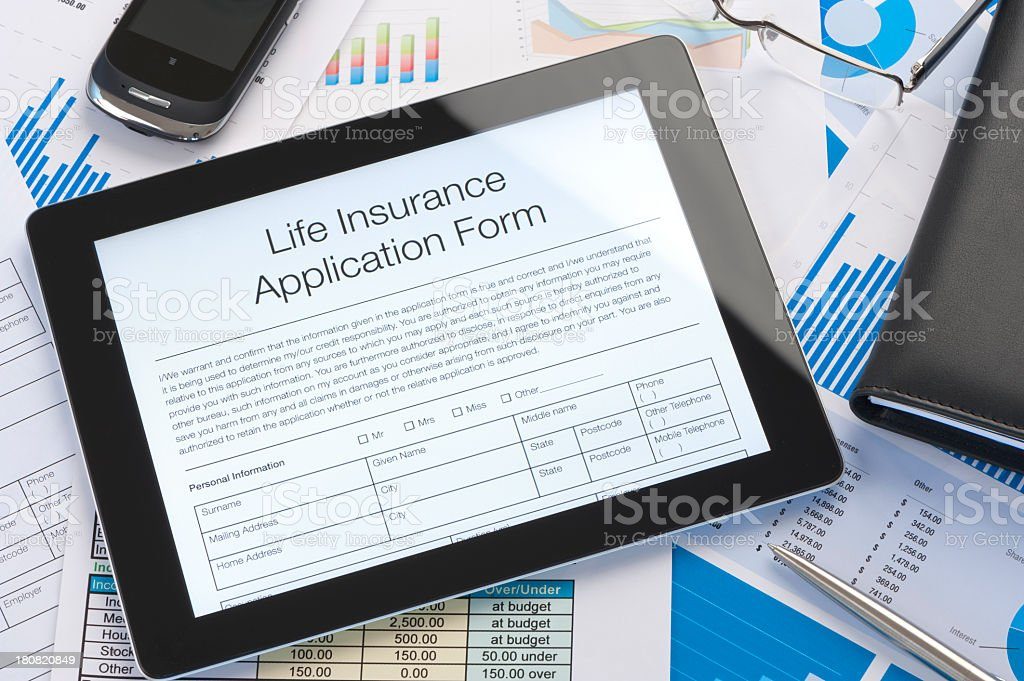 Online life insurance application form stock photo