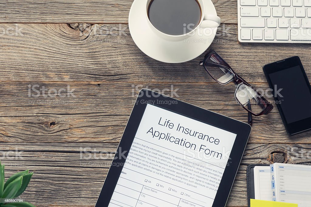 Online life insurance application form. stock photo