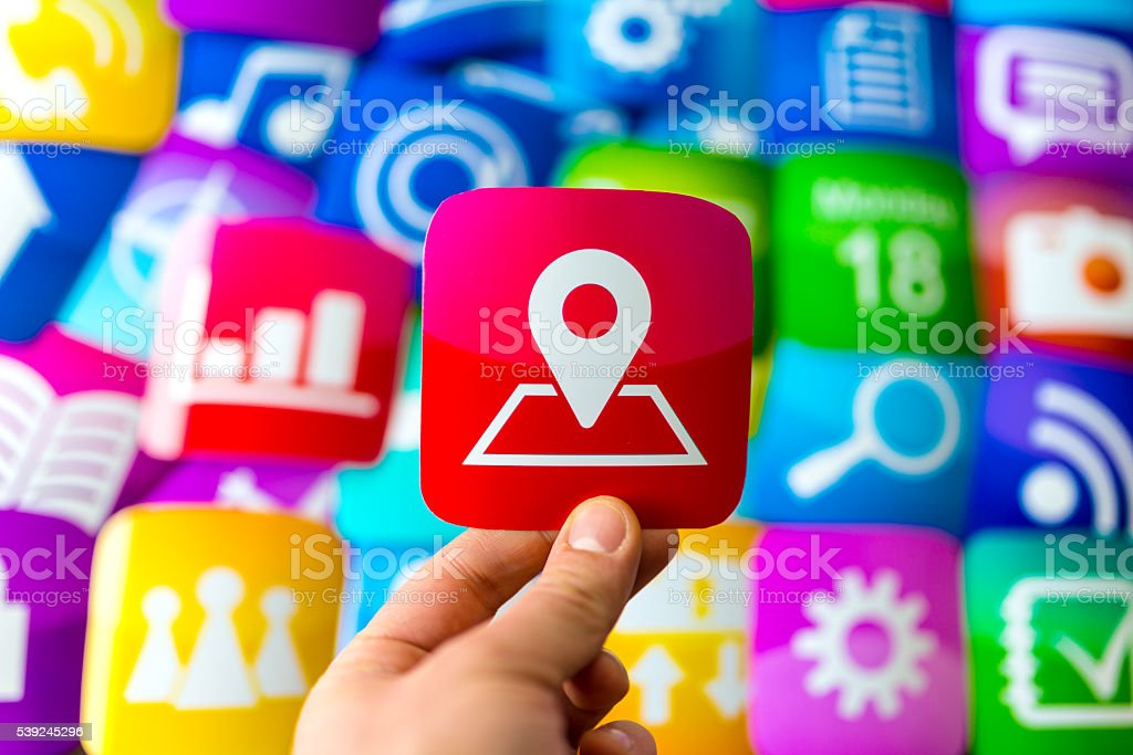 online location app icon stock photo