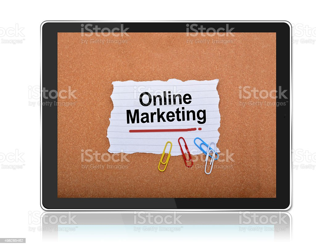 Online Marketing on Notepad in Tablet stock photo