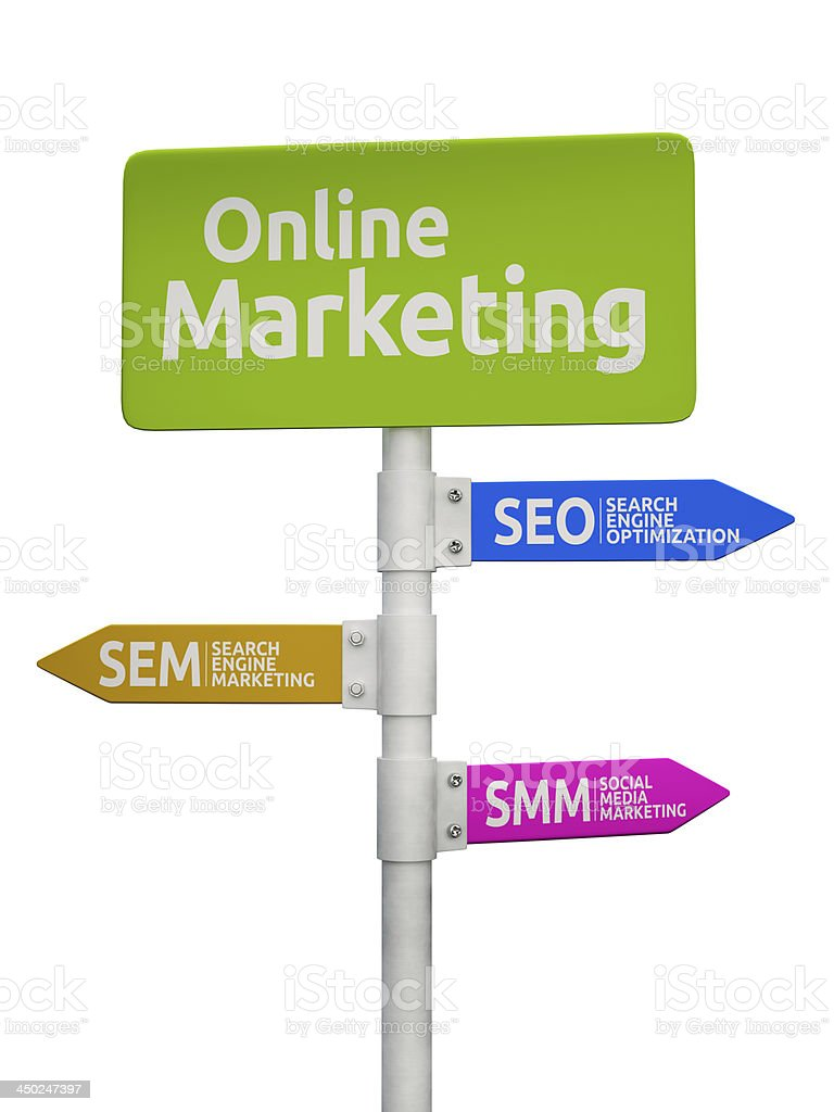 Online Marketing road sign pointing to SEO, SEM and SMM stock photo