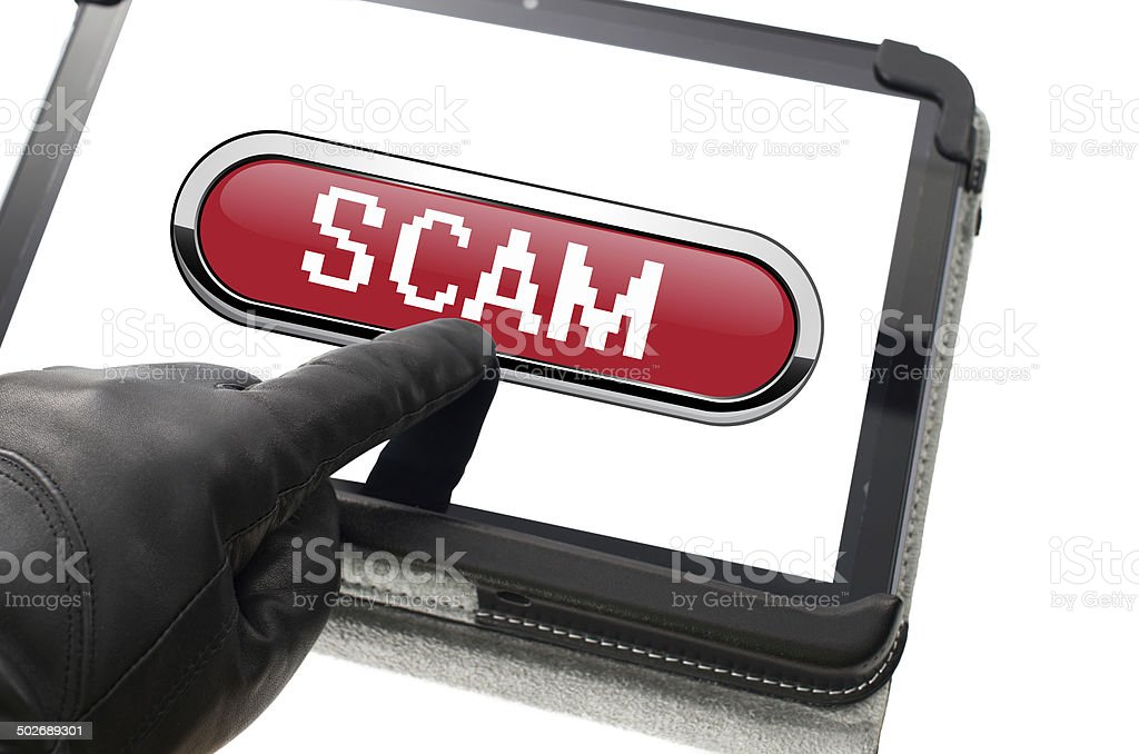 Online mobile scamming concept stock photo