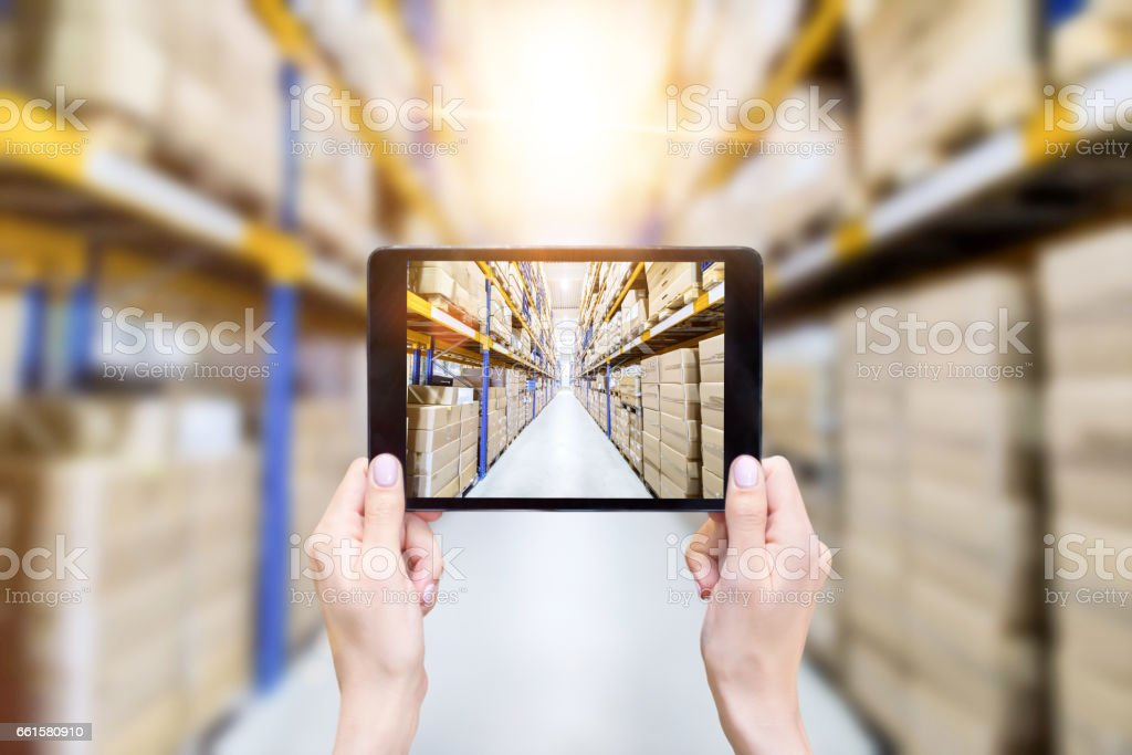 On-line & modern warehouse stock photo