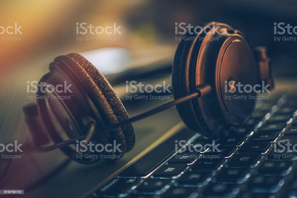 Online Music Listening stock photo