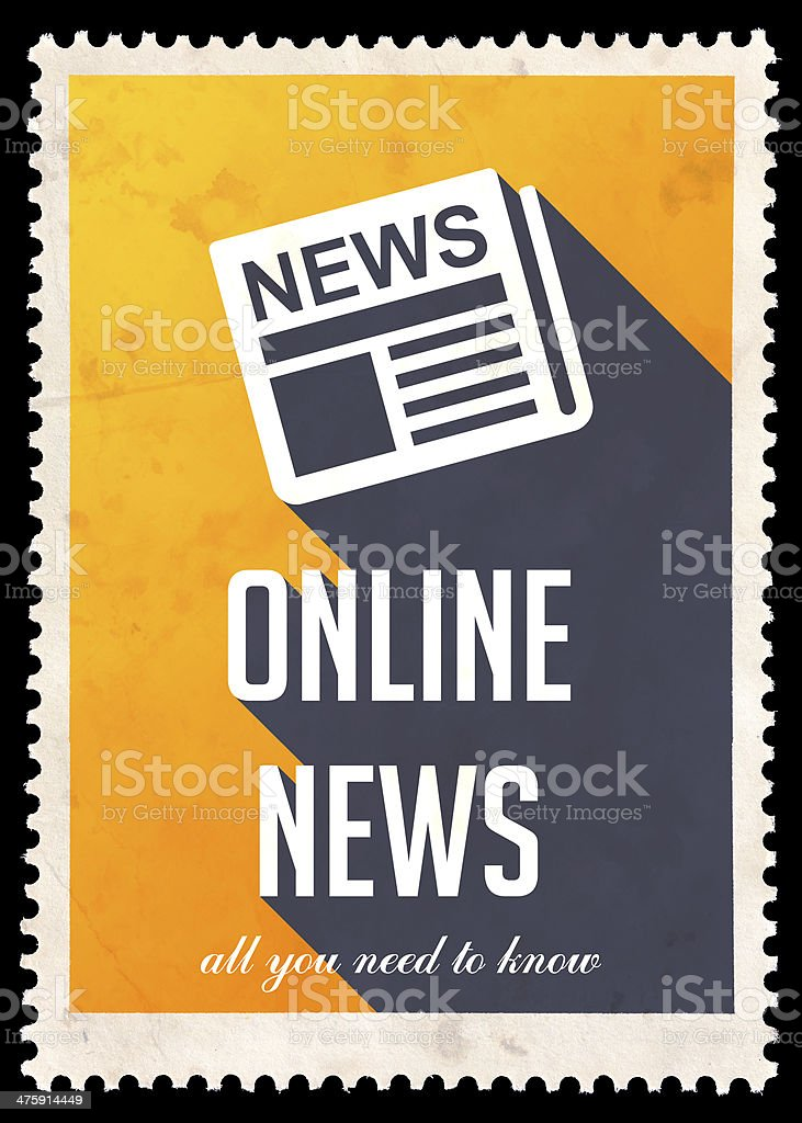 Online News on Yellow in Flat Design. royalty-free stock photo