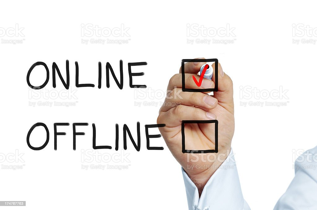 Online or offline stock photo