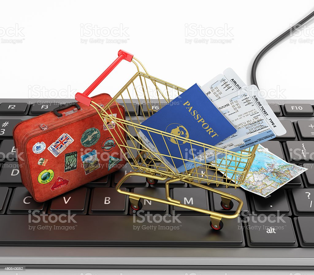 Online order air tickets concept. stock photo