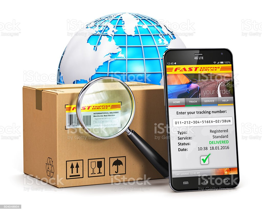 Online parcel tracking concept stock photo