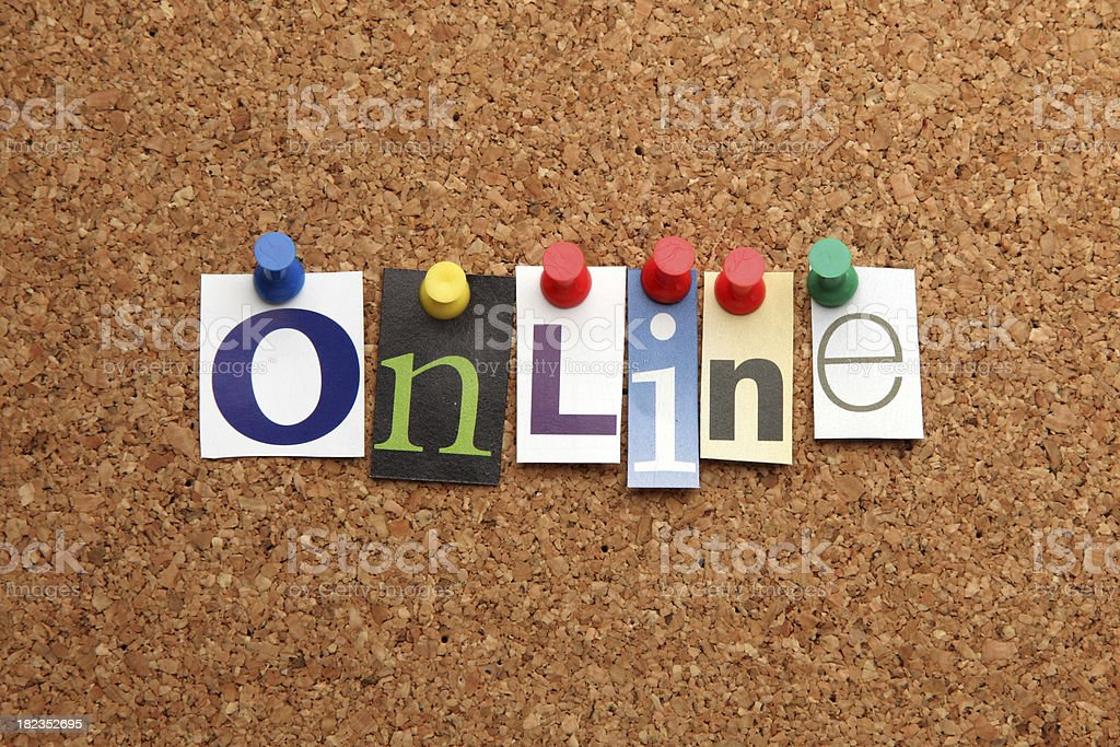 Online pinned on noticeboard royalty-free stock photo