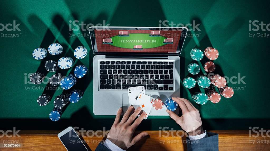 Online poker player stock photo