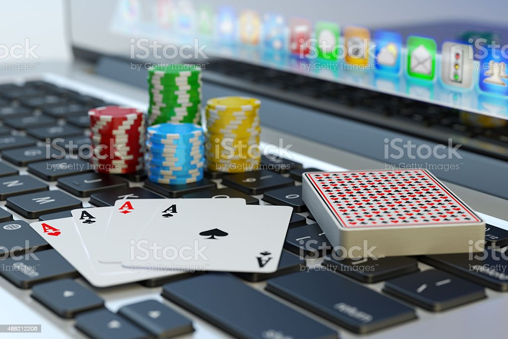 Online poker, virtual casino and gambling concept stock photo