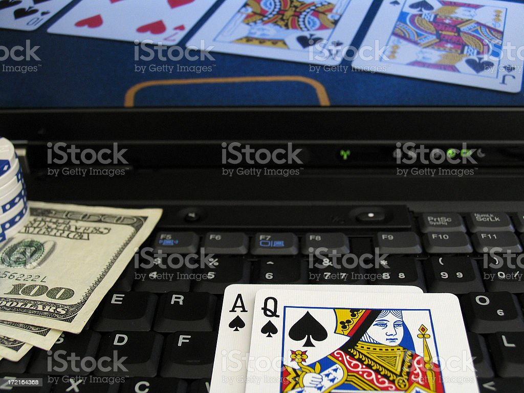 online poker with chips, hundred dollar bills stock photo