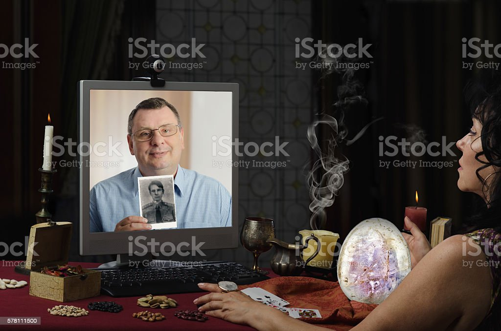 Online psychic might find missing man stock photo