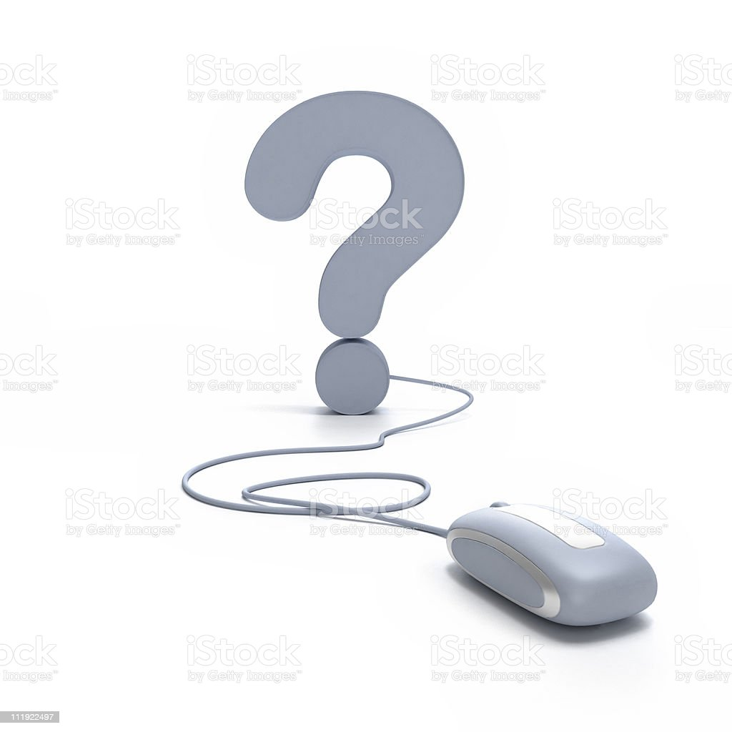 Online question mark stock photo