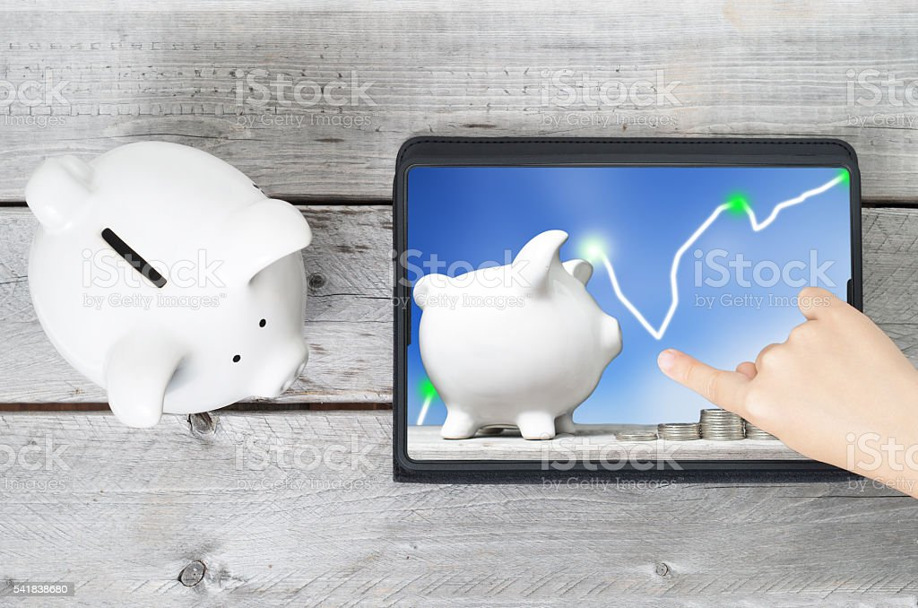 Online saving learning concept stock photo